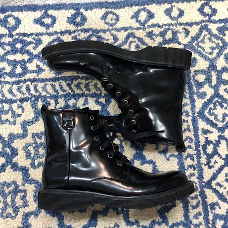 Oryginalne sztyblety botki męskie buty Calvin Klein skórzane czarne