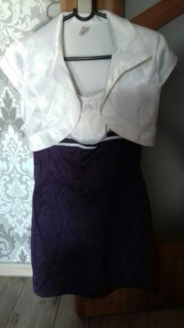 Sukienka komers, studniówka elegancka r. S/M, śliwkowa