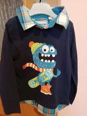Bluzeczka dla chłopca z imitacją koszuli C&A rozmiar 98/104
