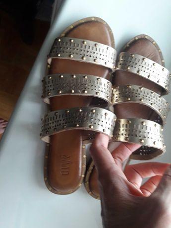 Sandały klapki damskie skóra skórzane włoskie 40 Nowe