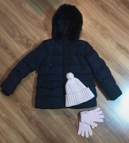Kurtka zimowa puchowa Zara 152 puszek kołnierz +czapka rękawiczki