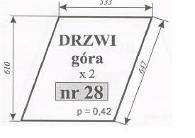 szyba drzwi górna Ursus 1604 , 1204 , C-385 stary typ Kunów ACX170