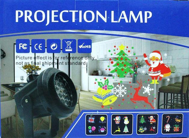 Лазерный проектор на Новый год с 16-ю рисунками и кронштейном