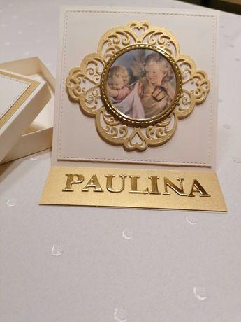 Kartka sztalugowa w pudełku ręcznie robiona chrzest, ślub, komunia