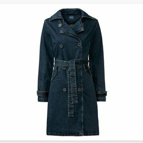Nowy jeansowy płaszcz trencz damski ESMARA S 38 M 40 42 kurtka dżinsow