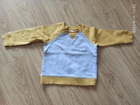 Żółto szara bluza hm h&m 80