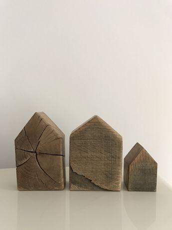 Dekoracja zestaw domków z drewna czary z drewna