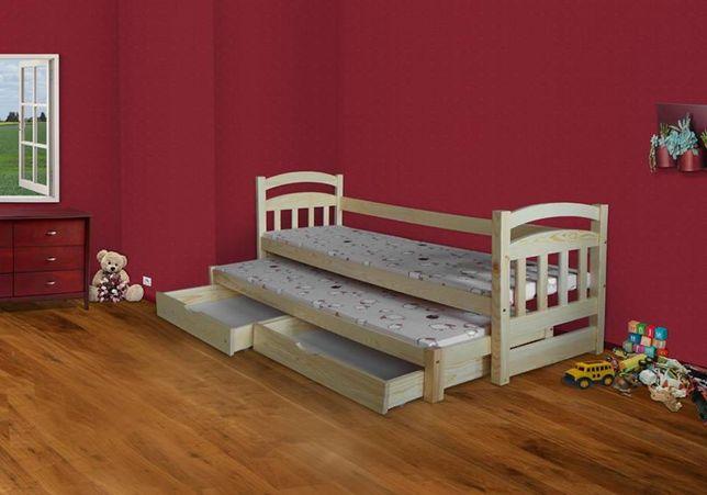 Drewniane 2-os łóżko dziecięce Antek z szufladami i materacami gratis!