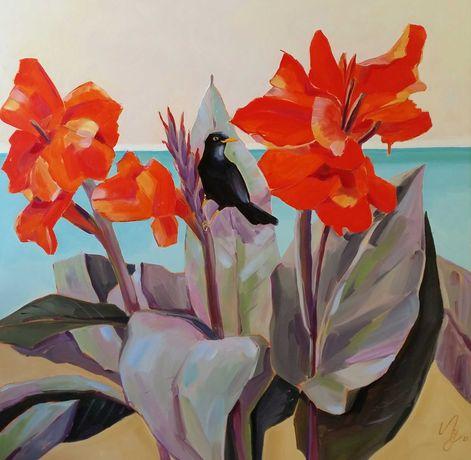 """Quadro """"Flores vermelhas  """" óleo sobre tela. 70x70 cm"""