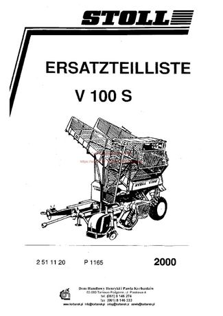Katalog części Kombajn ziemniaczany Stoll V100