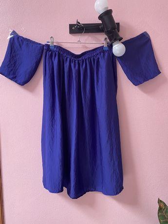 MANGO - Vestido Azul acetinado ombro a ombro - manga descaida (usado)