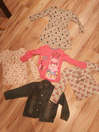 Sukienka, kurtka jeansowa, bluzki dziewczęce 122 - 128