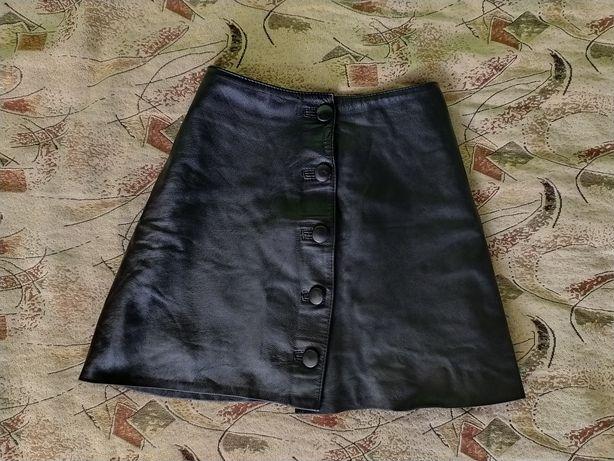 Кожаная миниюбка юбка мини