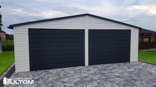 Garaż blaszany w kolorze dach dwuspadowy garaże blaszaki PRODUCENT