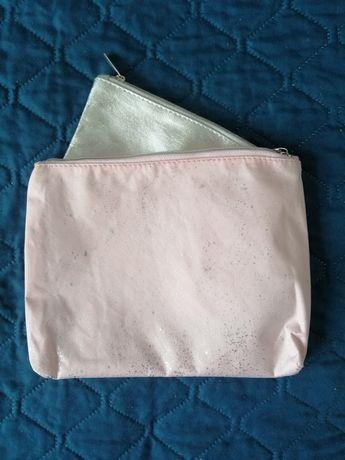 Zestaw kosmetyczki srebrna różowa nowe suwak na kosmetyki