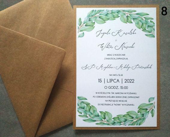 Zaproszenia slubne ruskus rustykalne jednokartkowe A5 zielone liście