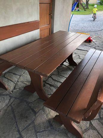 Stół drewniany, ławki, zestaw meble ogrodowe