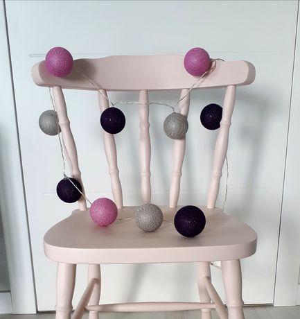 Cotton balls girlanda dla dziecka świecące kule kolorowe różowe fiolet