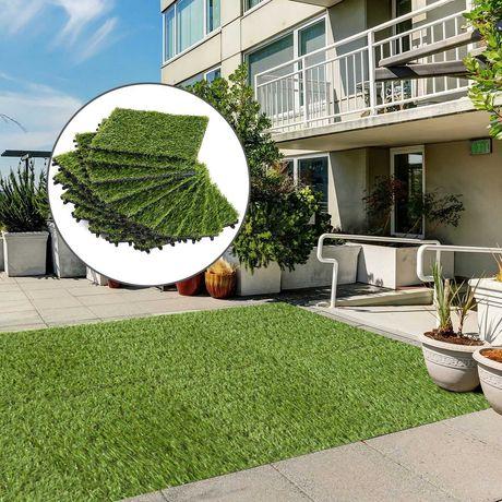 Nowa sztuczna trawa zielona na balkon taras ogród 10sztuk 30x30cm