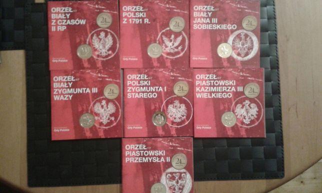 Numizmaty z serii Orły Polskie - komplet 7 sztuk