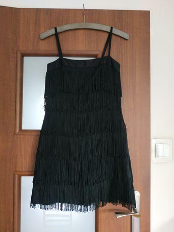 Czarna Sukienka na ramiączkach z frędzlami 36 S do tańca