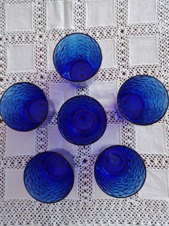 conjunto de 6 copos vidro francês azul cobalto