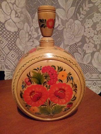 Украинский боченок петриковская роспись фляга кувшин деревянный