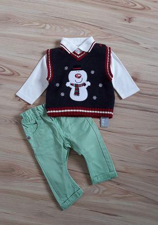 74 Zestaw świąteczny, spodnie, koszulka sweterek