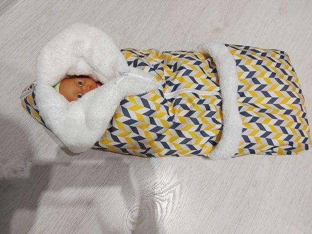 Plamka зимній конверт+комплект шапка з хомутом
