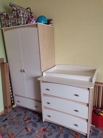 Meble dziecięce VOX łóżeczko + szafa + komoda + półka wisząca