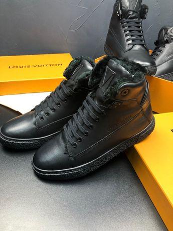 Мужские ботинки на меху зимние кожаные кроссовки Louis Vuitton ob137