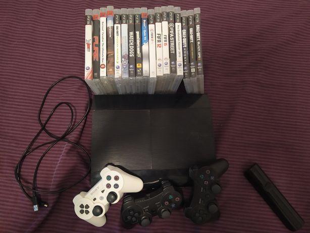 PS3 500gb 3 comando +15 jogos