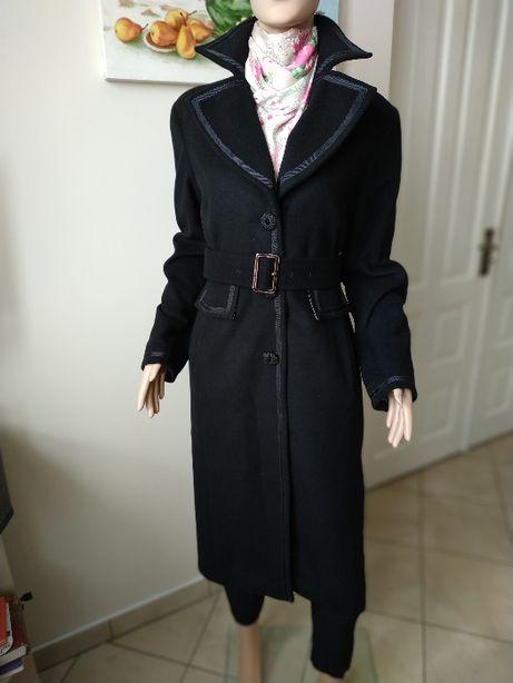 Трендовое черное шерстяное пальто от George с поясом прямое-m-ка-46р
