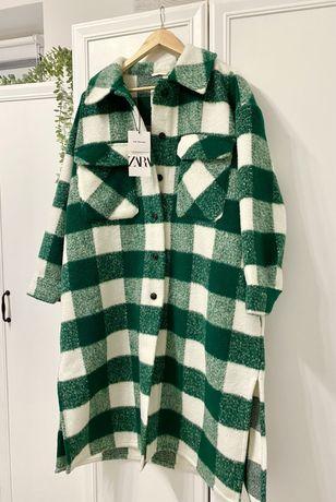 Płaszcz ZARA zielono biały M