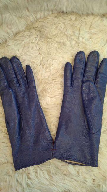 Перчатки кожаные синие женские М Мягкие