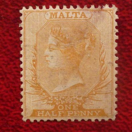 Znaczki pocztowe - kolonie brytyjskie Malta 1863 r. SG 4 uszkodzony