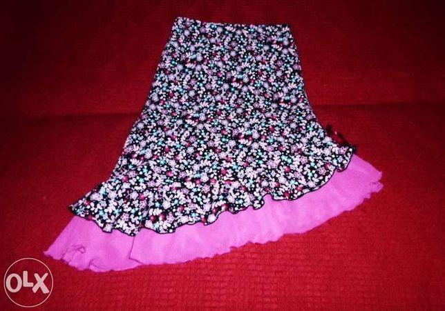 Skośna spódnica różowa falbanka kwiaty kwiatki 164 lat 13-14 XS S M 36