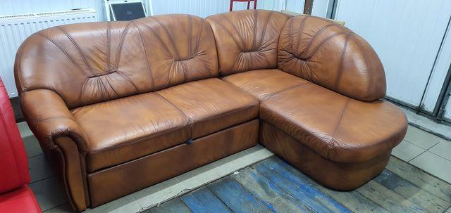 Narożnik skórzany sofa kanapa skóra rogówka jak nowa funkcja spania