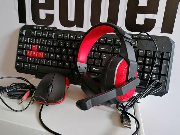 Zestaw klawiatura słuchawki z mikrofonem mysz do komputera dla gracza