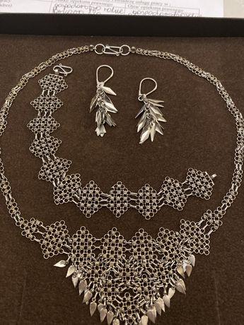 Unikatowy zestaw srebrny filigran naszyjnik bransoletka i kolczyki cud