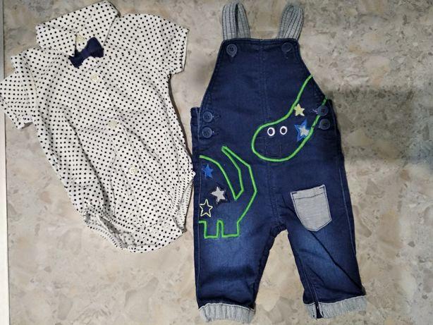 Комбинезон джинсовый, рубашка - боди
