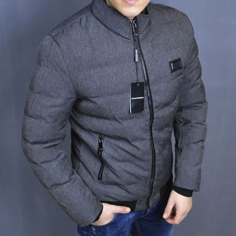Зимняя мужская короткая куртка Armani серая, куртка демисезон Армани