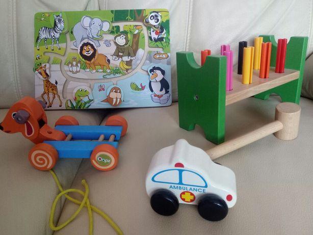 Zabawki drewniane labirynt,przebijanka ikea,autko,piesek na sznurku 1+
