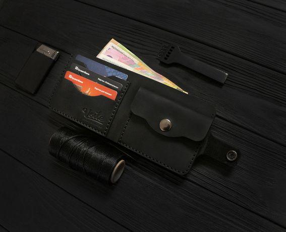 Мужской кожаный кошелек ручной работы Voile vl-cw1-blk черный + брелок