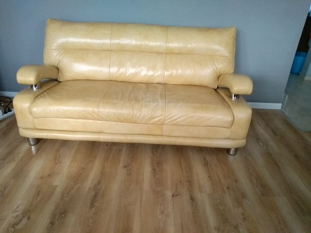 Zestaw mebli sofa i fotel skóra naturalna