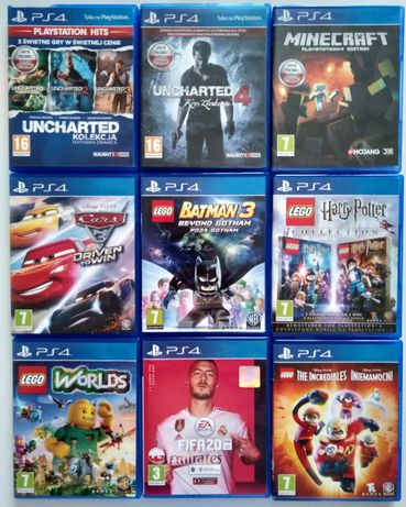 Gry PS4 Minecraft Uncharted Cars FIFA LEGO Harry Potter iniemamocni wo