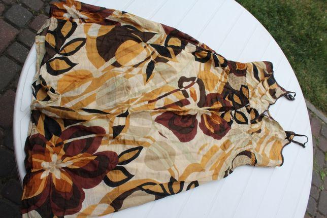 zwiewna sukienka w brązach na upały rozm 38