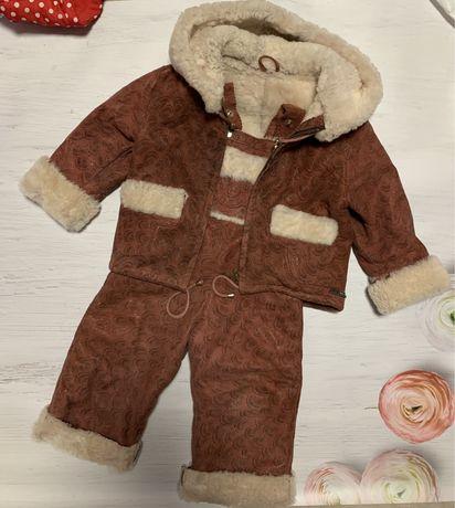 Комплект зимний на девочку 1-2 год•дубленка• комбинезон•