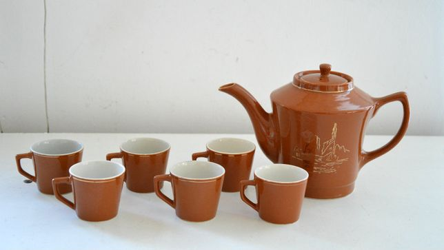 stary Komplet do kawy espresso 6 filiżanek i dzbanek