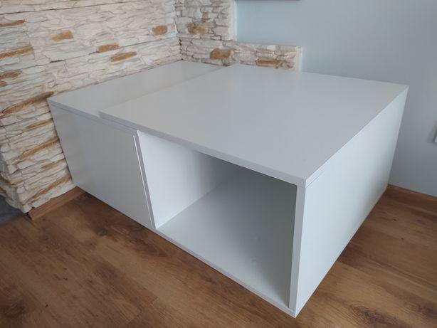 Stolik kawowy biały z szafką- 90X60